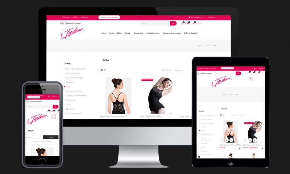 Design responsive per un e-commerce compatibile su dispositivi sia desktop che mobile